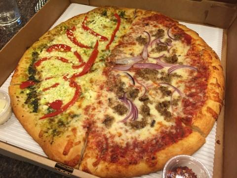 Half Pesto & Goat Cheese / Half Coetta & Onion